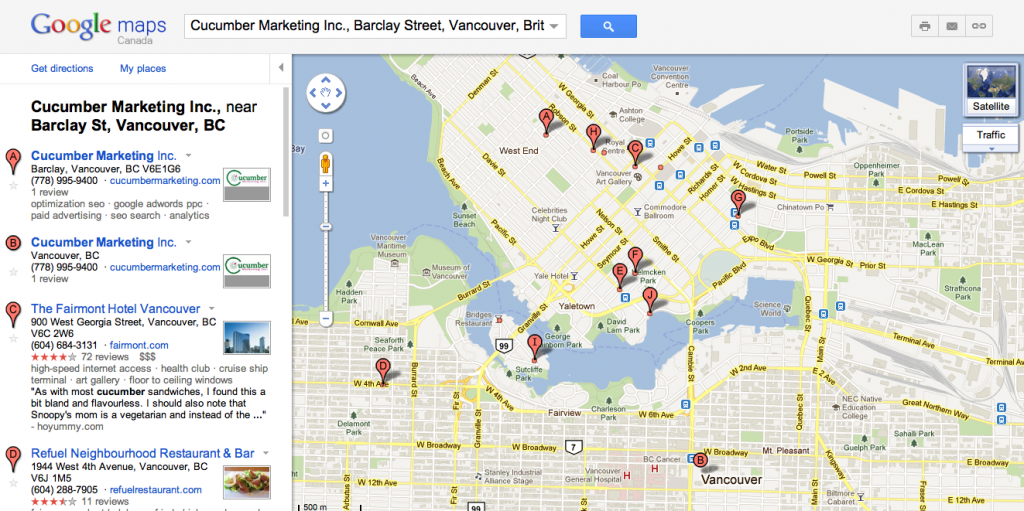 Google Maps Cucumber Marketing