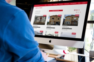 Mockup of website design with real estate listings