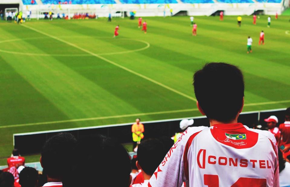 Fan watching football game