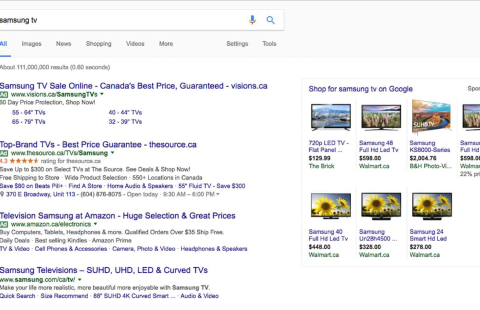 Example of adwords results on google