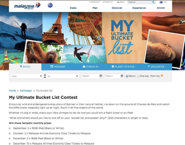 Malaysian Airlines' My Ultimate Bucket List Contest