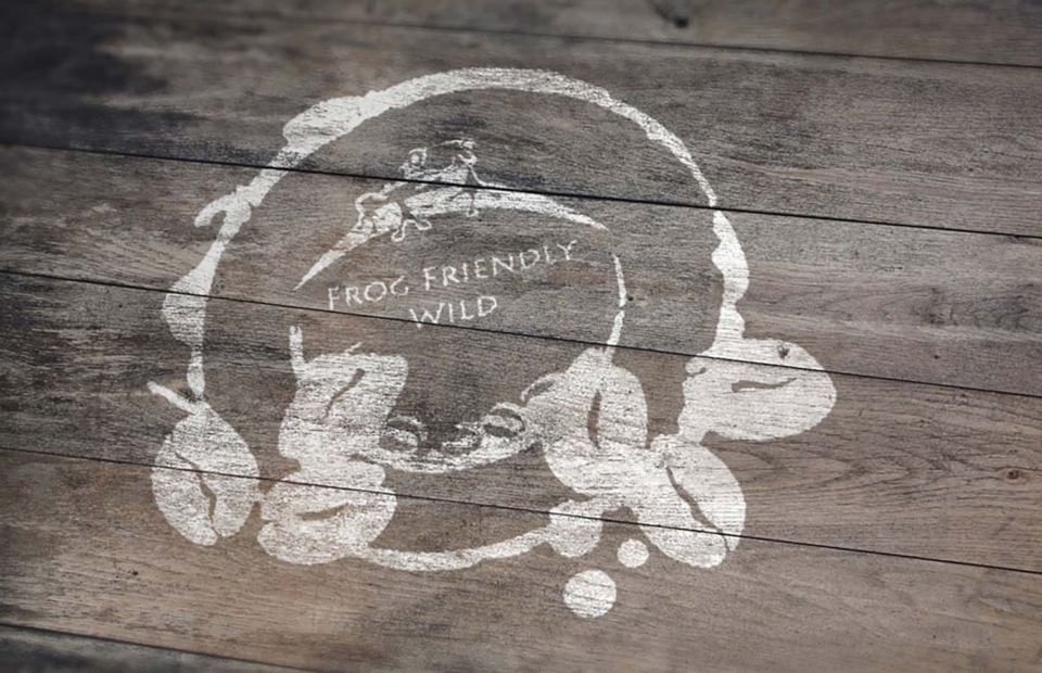 Frog Friendly Wild coffee branding and logo