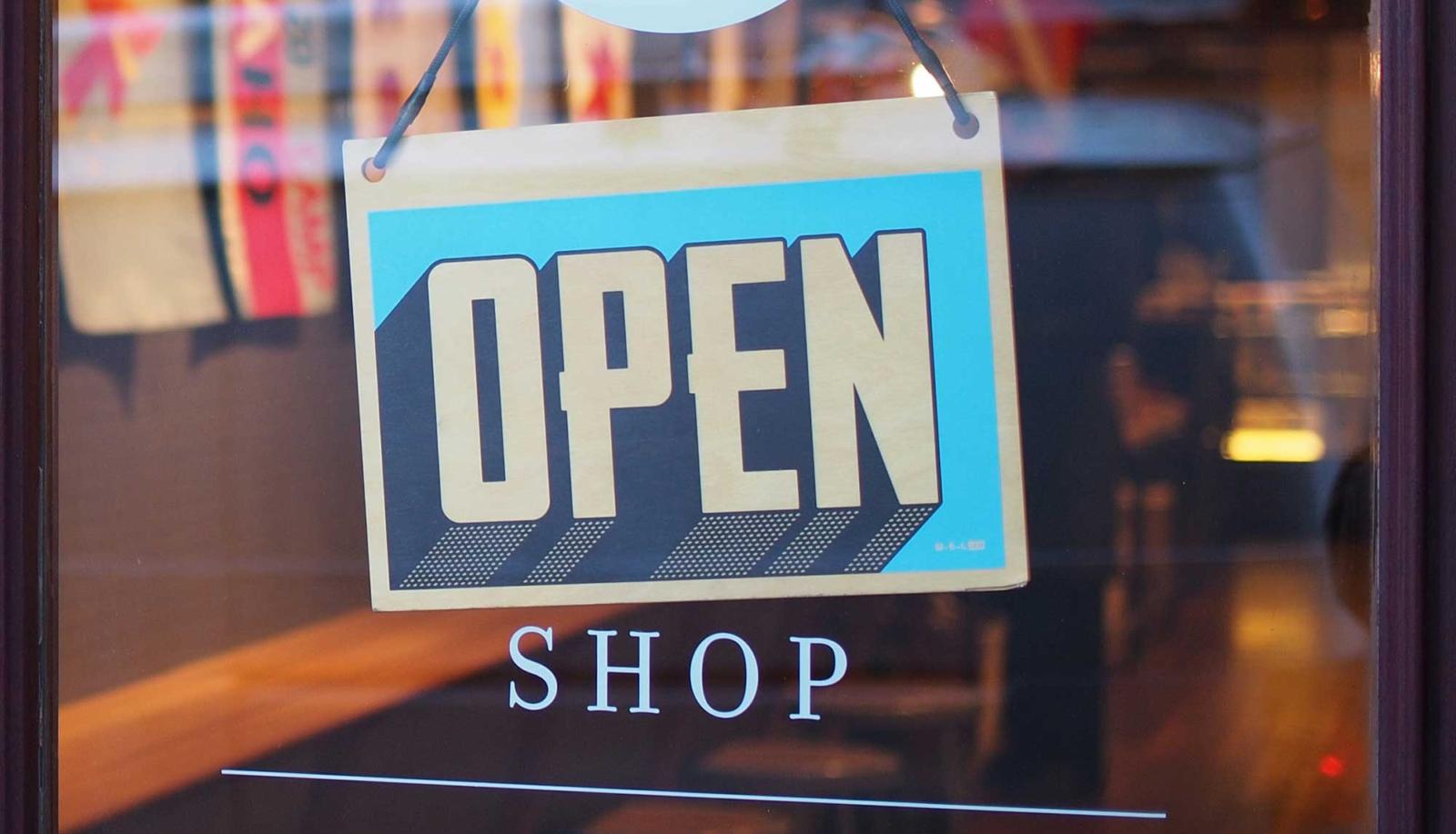 Open sign in shop door