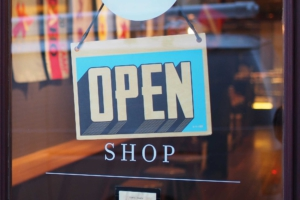 Open sign in shop door