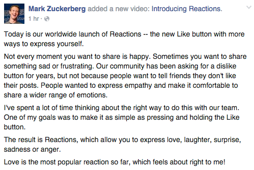 Facebook Statement on Reactions