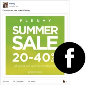 Retail brand facebook post
