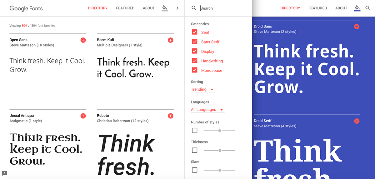 Google fonts for web design