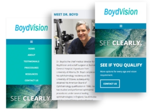 Mobile website screen mockups