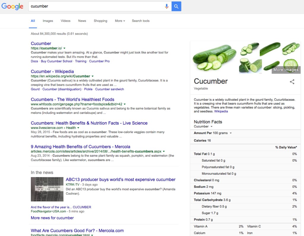 cucumber seo search