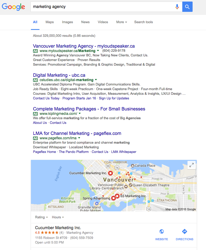marketing agency seo search