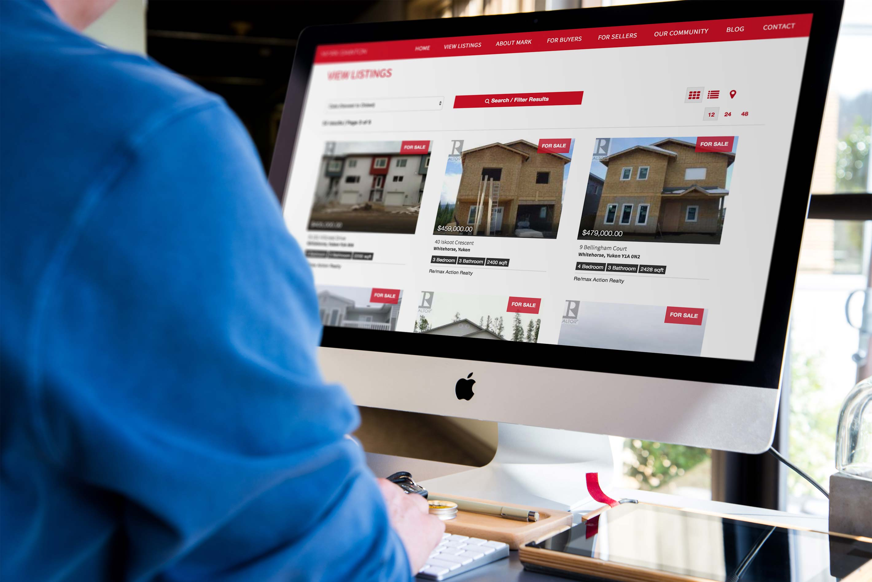 Mockup of website design with real estate listings
