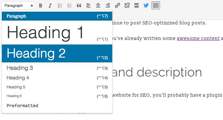 choosing a header on WordPress for SEO optimization