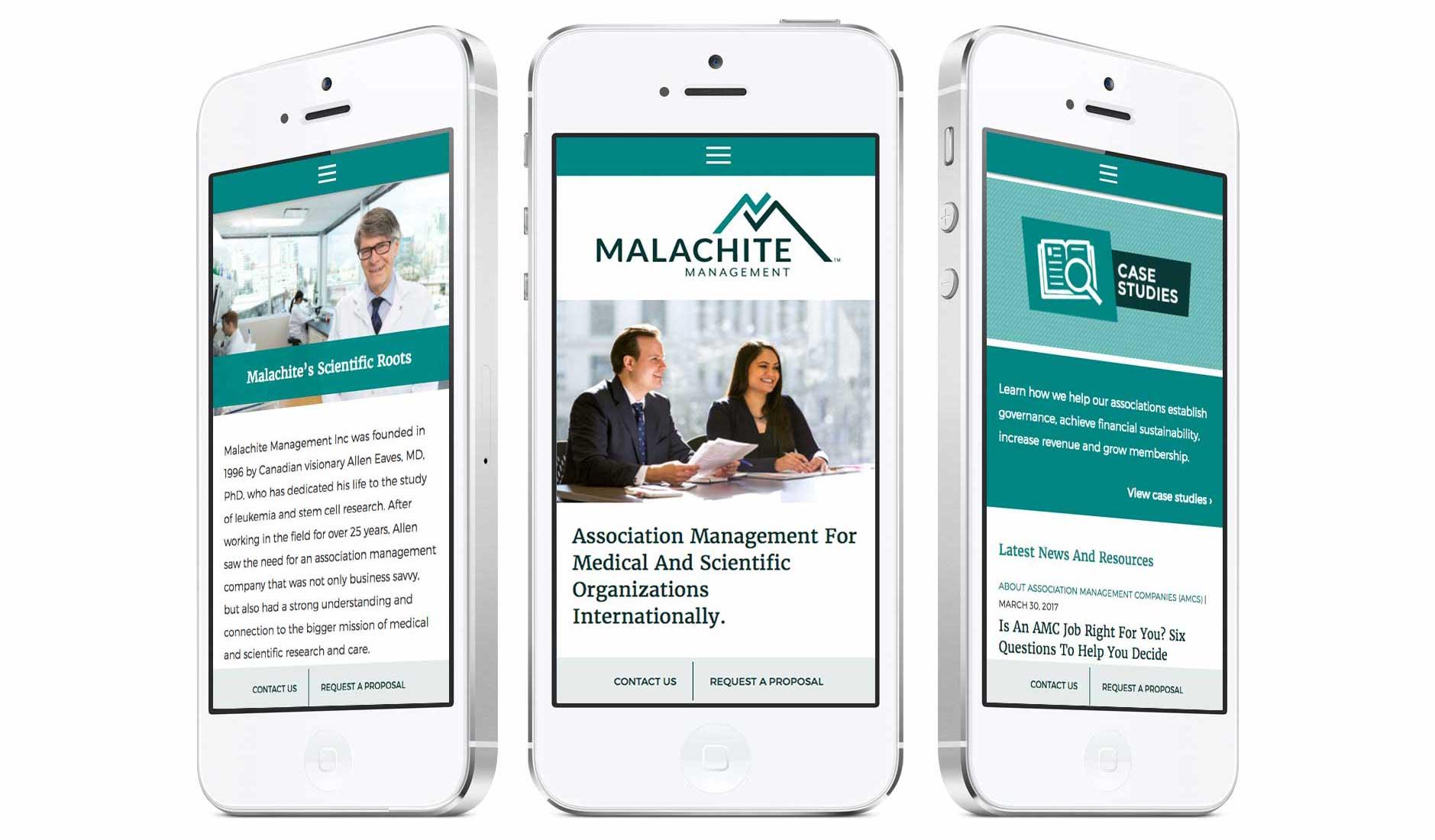 Malachite mobile web design by Cucumber Marketing Inc.