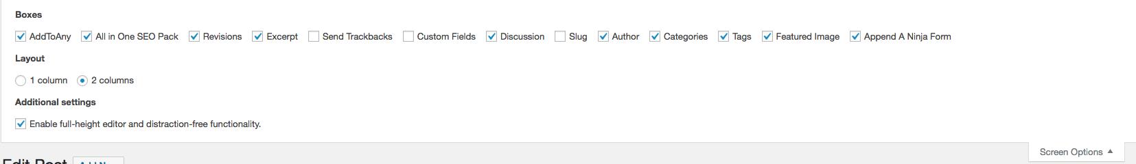 Screen options bar in WordPress