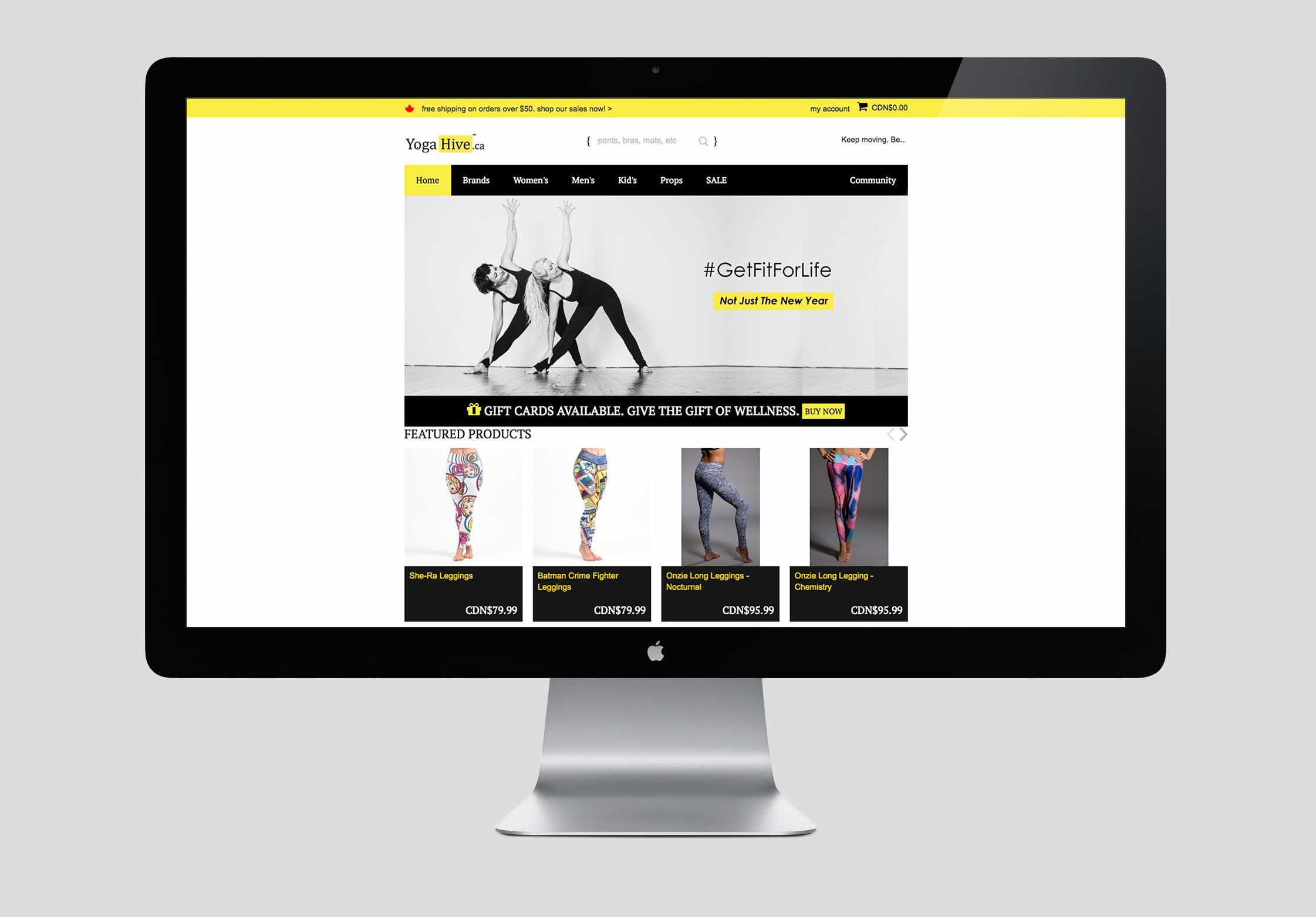 Yoga Hive website before re-design.