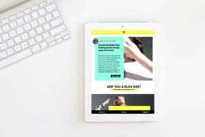 Responsive website design on tablet.