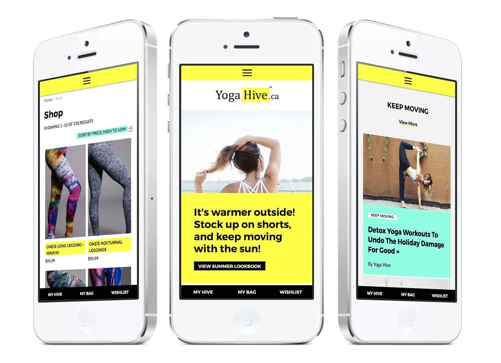 yogahive-phone - web design case study