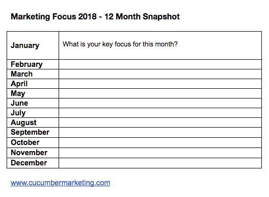 marketing plan - focus for the year