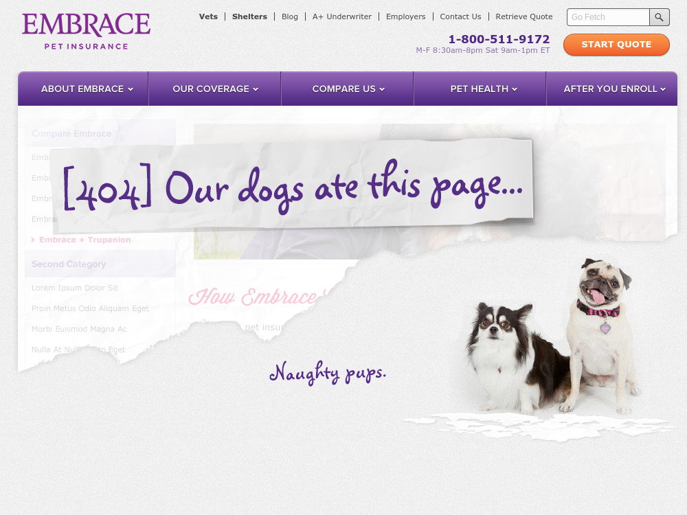 Embrace Pet Insurance Error 404 page