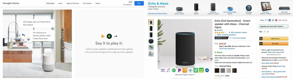 comparison of products between amazon and Google