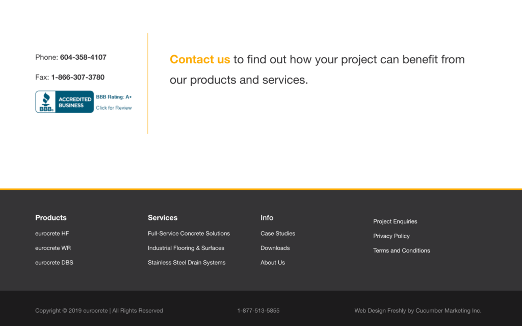 Eurocrete footer website design