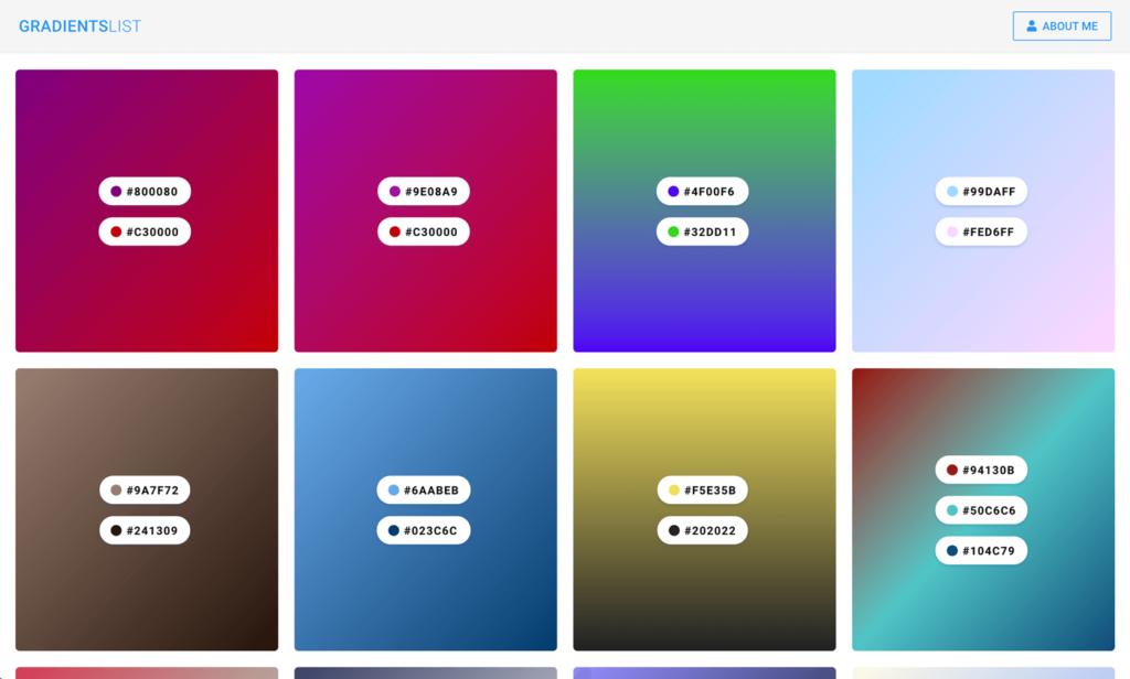 Gradients List Color Palettes