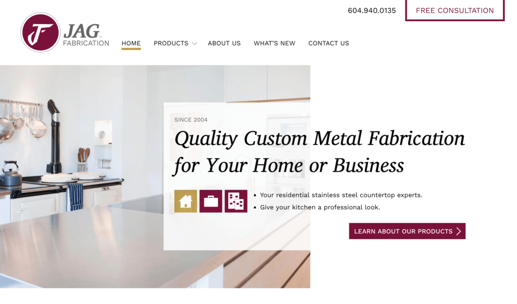 Jag Fabrication Web Design